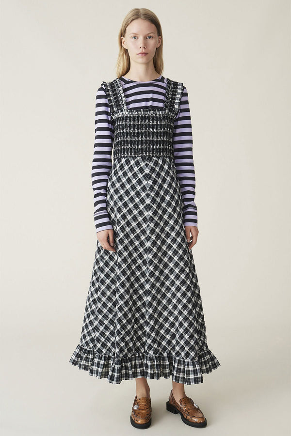 PRE-ORDERS - Seersucker Check Maxi Dress Black