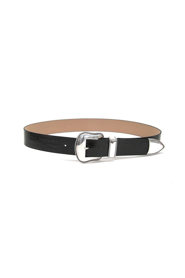 PRE-ORDERS - Villain Croco Belt Black Silver
