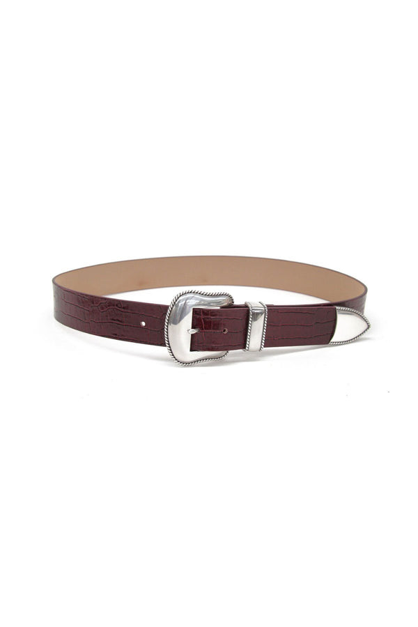 PRE-ORDERS - Villain Croco Belt Burgundy Silver