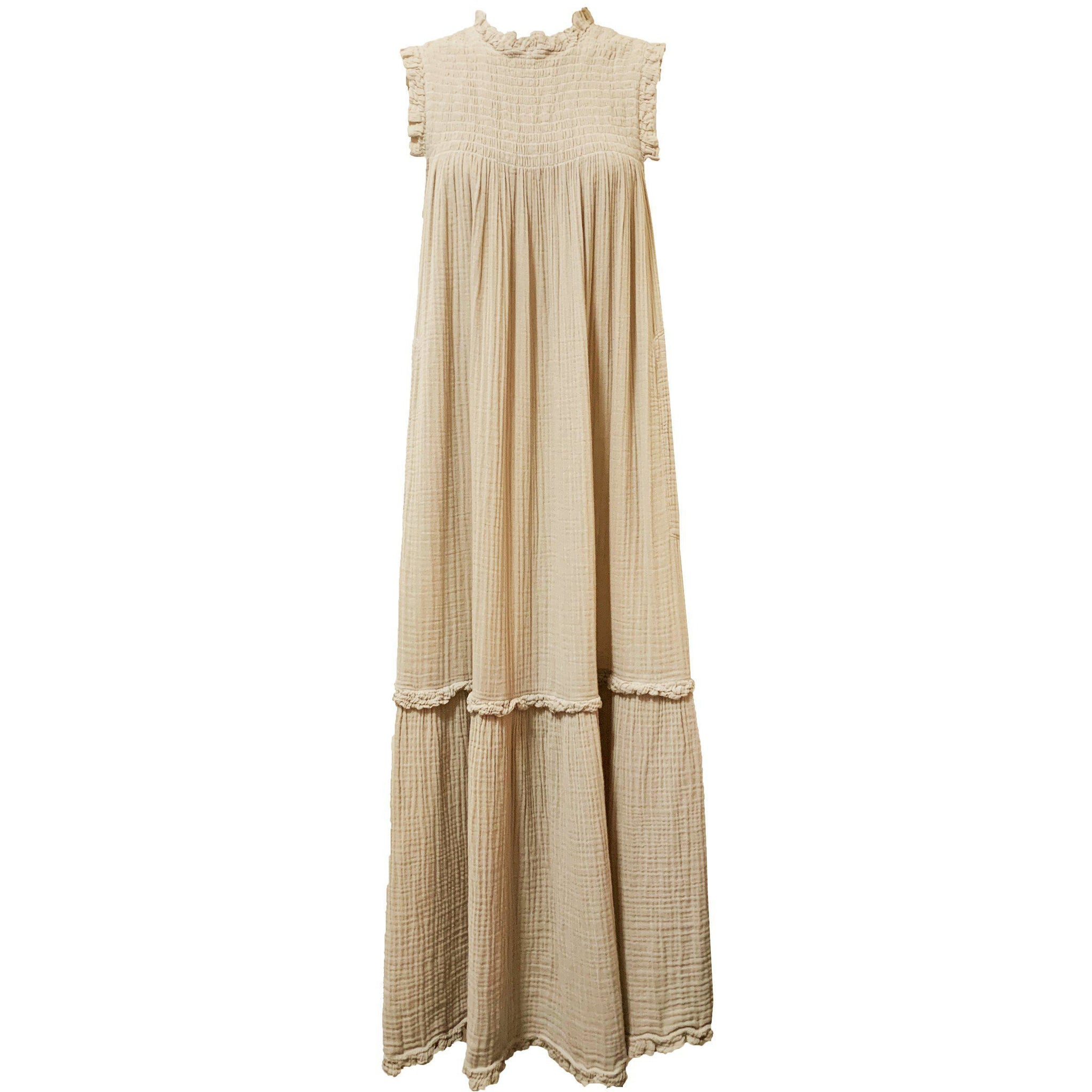 Sand Gauze Medley Smocked Dress