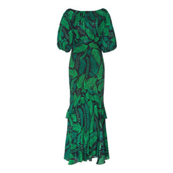 Cheryl Dress Teal Cuba Palm