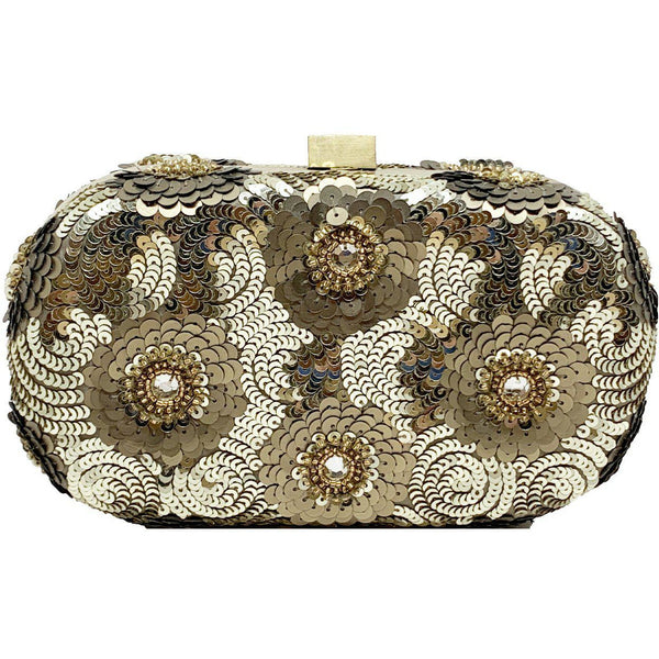 Floral Sequin Clutch Gold