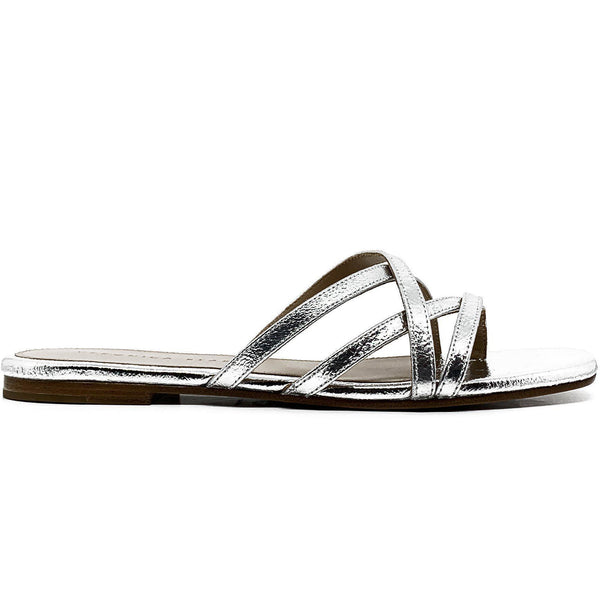 SHOES - Martha Metallic Leather Silver