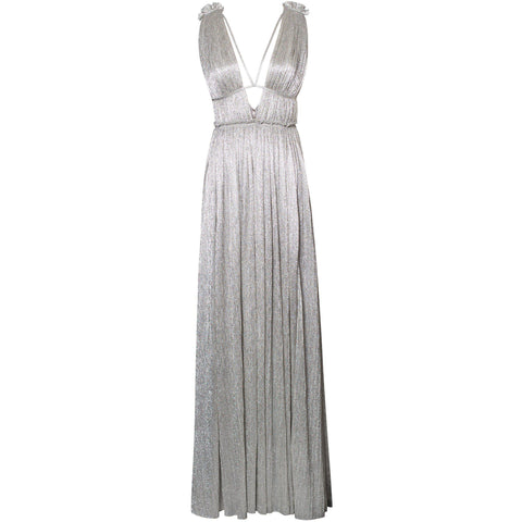 Plisse Lame Open Neck Maxi Dress Silver