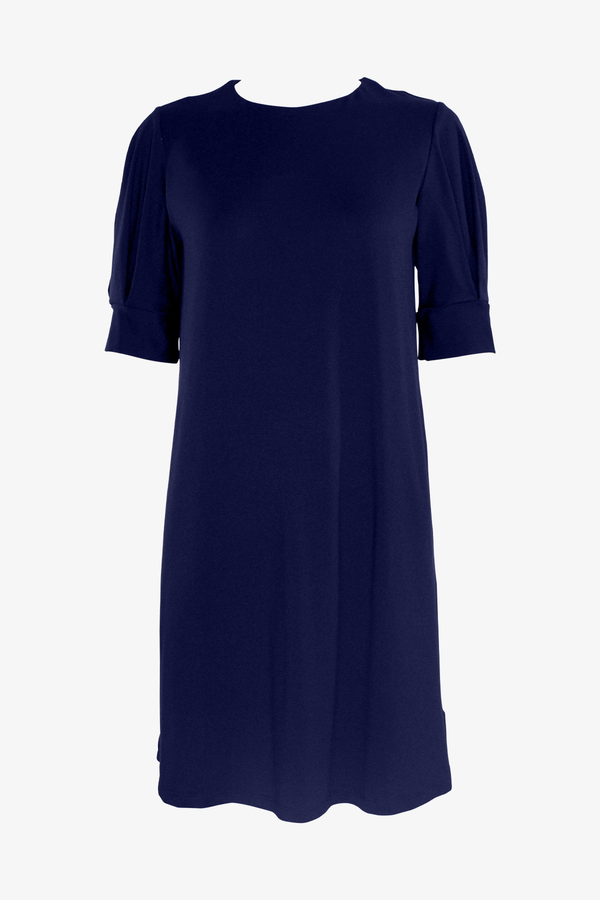 T-Shirt Pleated Sleeve Dress in Midnight