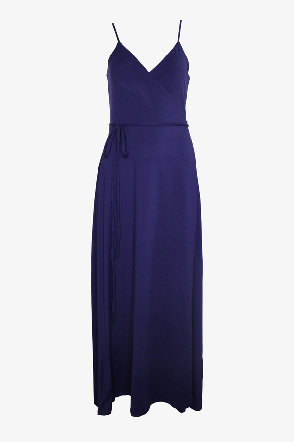 V-Neck Wrap Midi Dress in Deep Sea