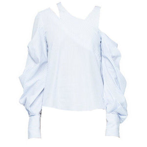 Pleated Combo Asymmetric Top