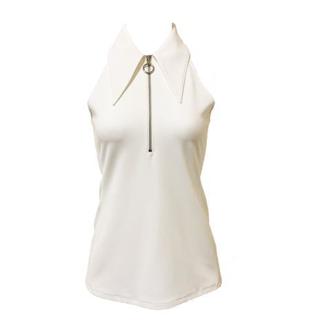Structured Crepe Sleeveless Top White