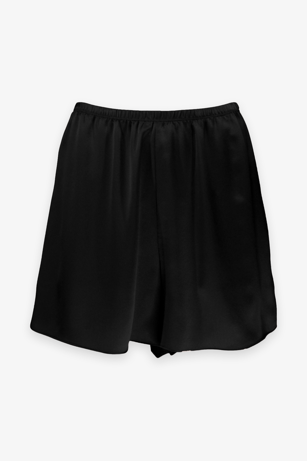 Satin Pull On Short in Black