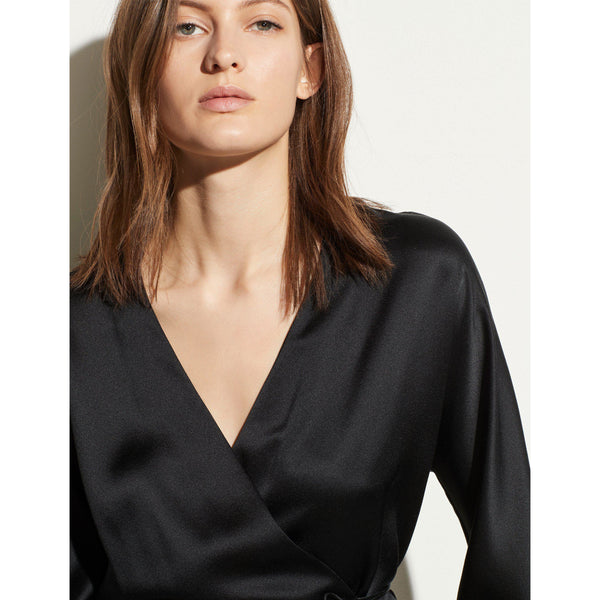Wrap Tie Blouse Black