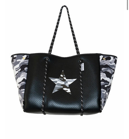 Star neoprene tote with camo sides