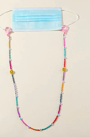 Smiley Peace beaded mask chain