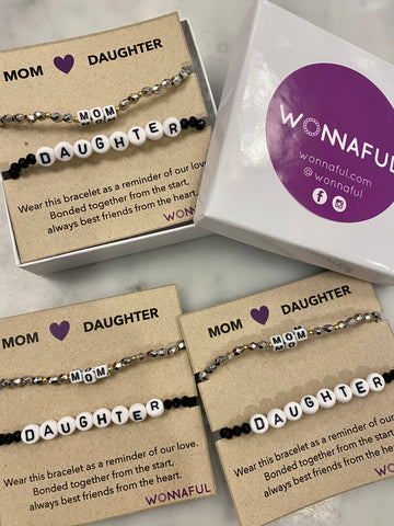 Mom daughter beaded bracelet set