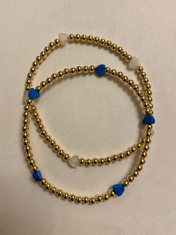 Gold filled bead bracelet- stone hearts