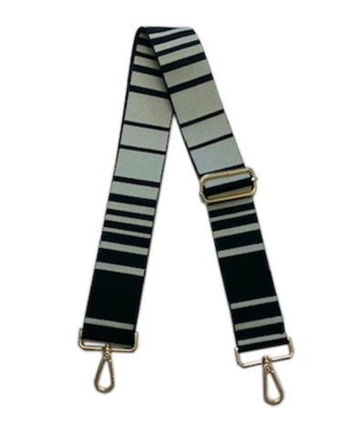 Black and White Stripe Strap - Gold Hardware
