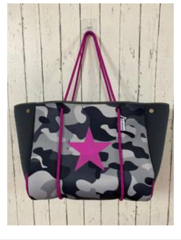 Camo neoprene with pink star