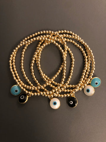 Eye gold filled ball bead bracelet (3 colors)
