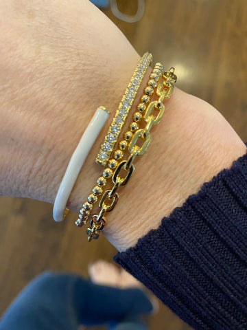 Gold plated chain link bangle