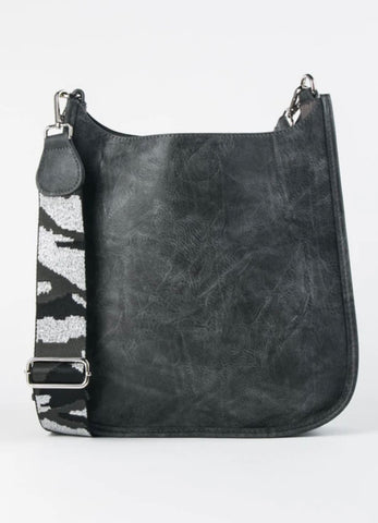 Distressed Grey Vegan Crossbody -Silver Camo strap