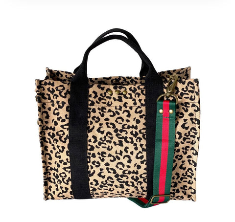 Cheetah canvas crossbody with strap
