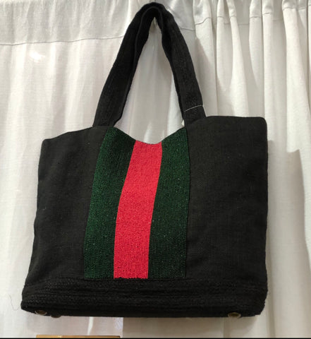 Black canvas tote with beaded stripe