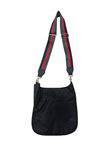 Black nylon crossbody with stripe strap