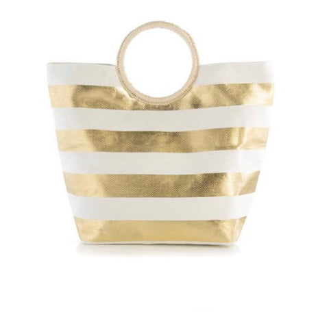 Gold and Cream Straw Tote