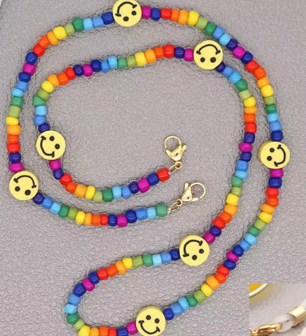 Beaded smiley face mask chain