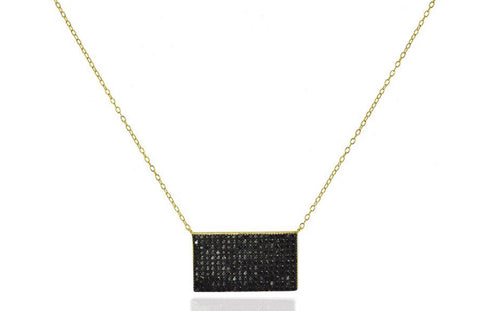 Gold plated chain with black pave pendant