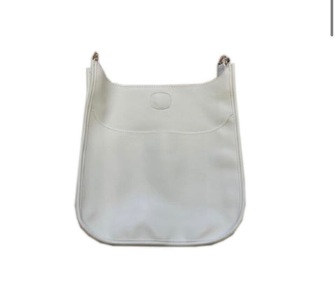 White vegan crossbody gold hardware