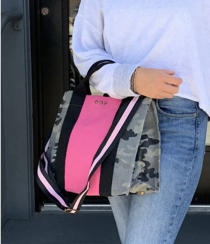 Camo with pink stripe canvas crossbody