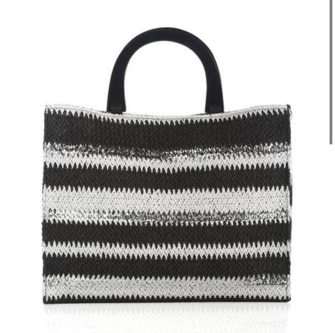 Black, White and Silver Tote