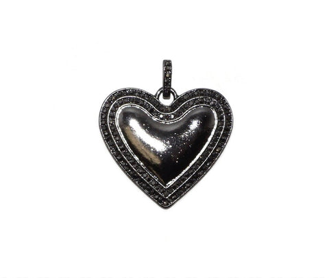 Black Enamel Heart Charm