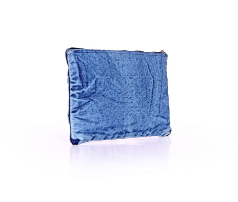 Denim Zip Top Pouch