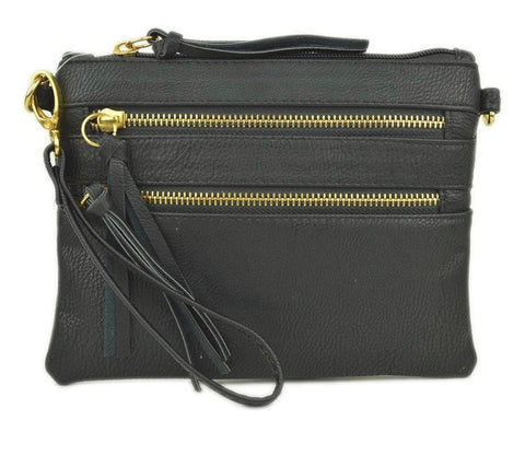Double Zip Vegan Crossbody