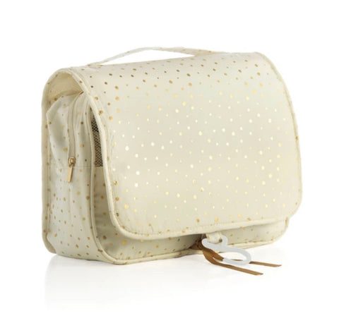 Hanging toiletry bag - ivory and gold dots