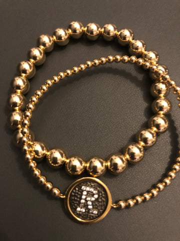 Initial coin CZ inset Gold filled bead bracelet
