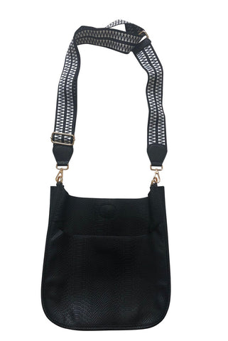 Black faux snake crossbody with Aztec print strap
