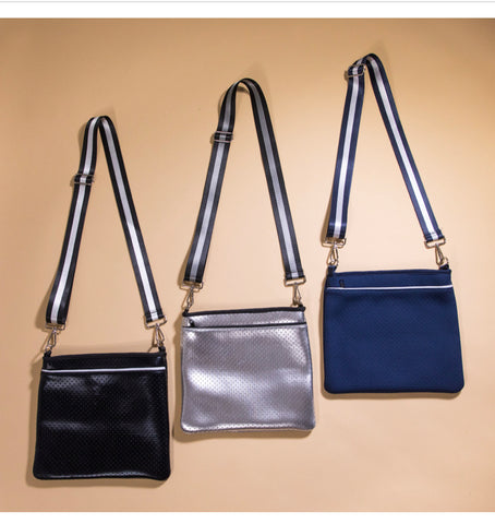 Neoprene metallic crossbody bags