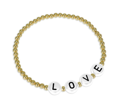 Letter Bead Bracelets- Happy, Love, Mama