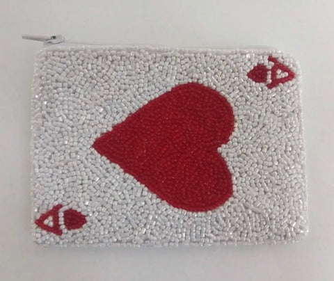 Ace of Hearts beaded wallet
