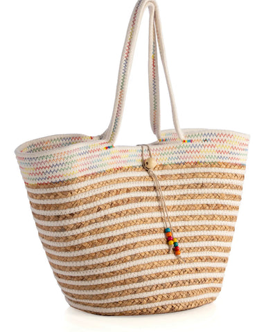 Cream with Multi Color Tote