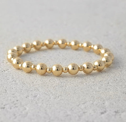 Alternating bead bracelet-gold filled