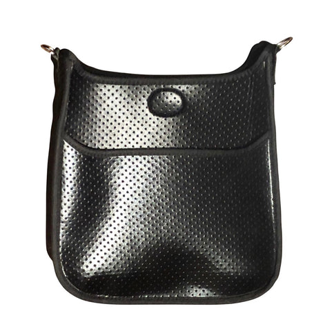 Black Metallic Neoprene Bag -Silver Hardware