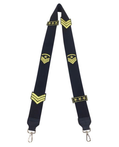 Black Bag Strap with gold military patches