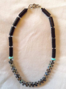 Labradorite, Jet and Blue Peruvian Opal Heishi Necklace - dc