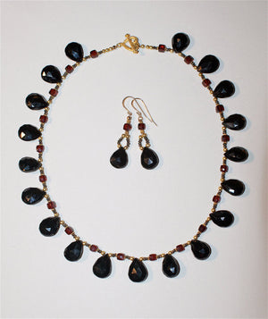 Black Spinel, Garnet, and Pyrite Necklace and Earrings