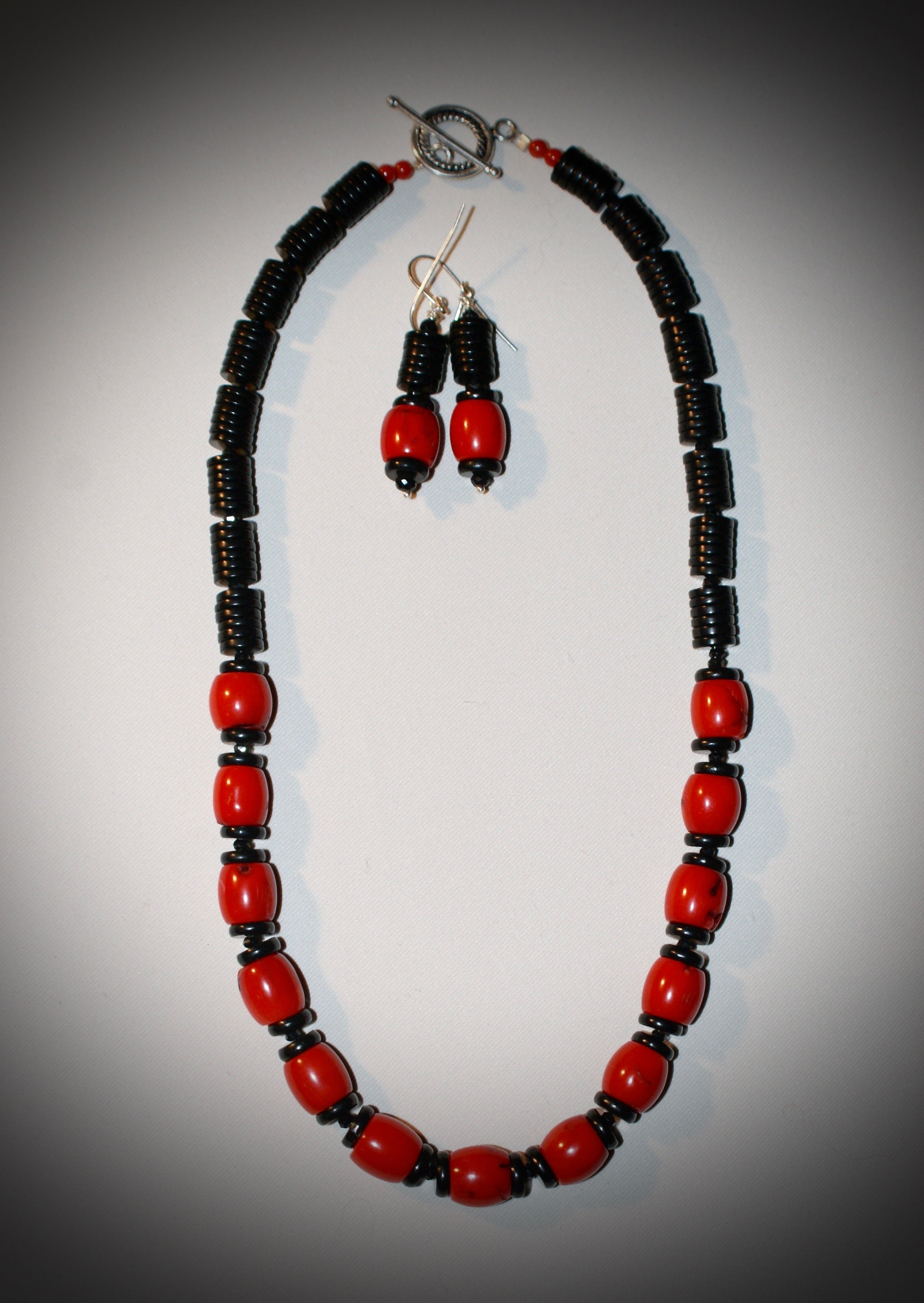 Red Bamboo Coral and Jet Heishi Necklace and Earrings