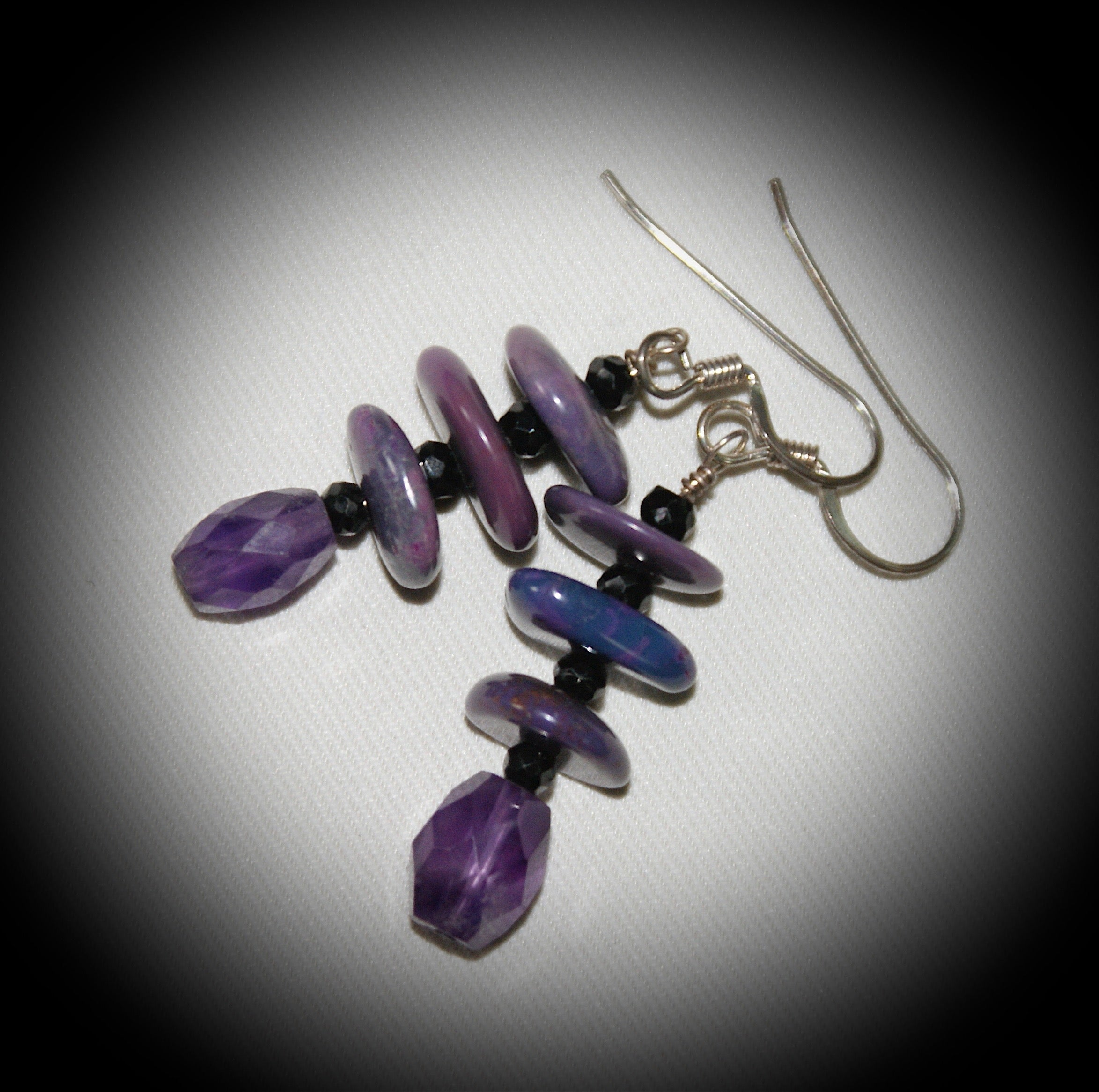 Purple Turquoise and Jet Necklace with Earrings