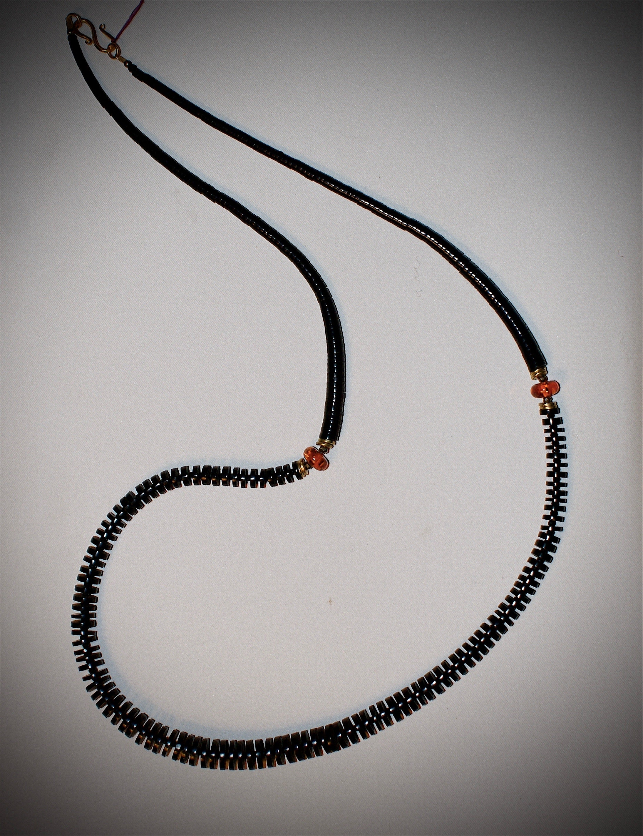 Jet Heishi and Amber necklace